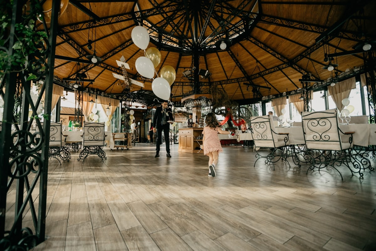 child, playful, running, cafeteria, restaurant, balloon, indoors, people, architecture, light