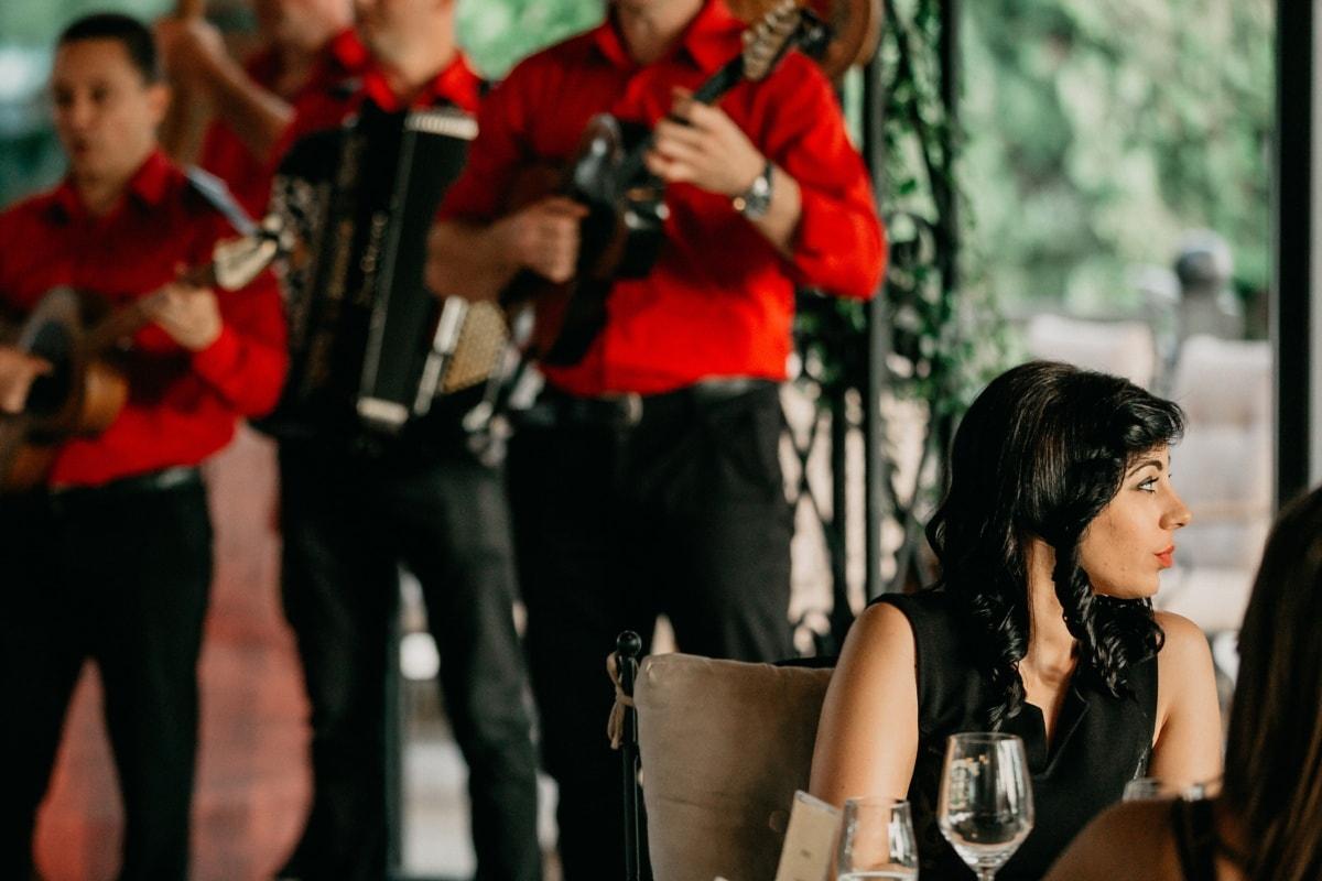 cheveux, noir, coiffure, magnifique, Dame, musique, performances, femme, gens, concert