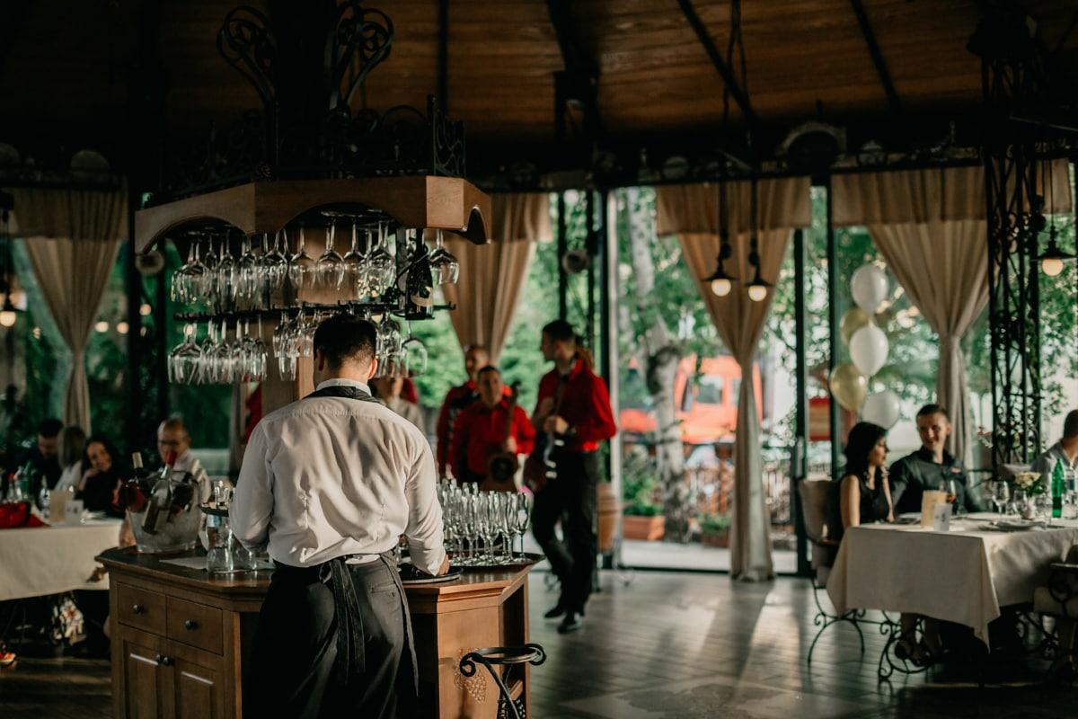 kafeteria, bartender, vingård, restaurant, folk, mann, gruppe, møbler, kvinne, byen
