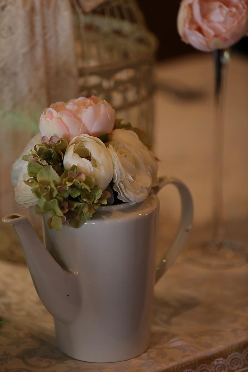 Vase, Krug, weiß, Töpferei, Keramik, Blumenstrauß, Porzellan, Tasse, Blume, Still-Leben