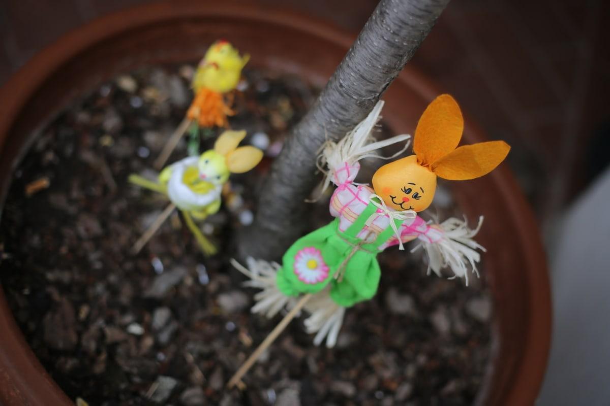 Dekoration, Ostern, handgefertigte, Blumentopf, Bunny, Anordnung, Boden, Garten, Still-Leben, verwischen