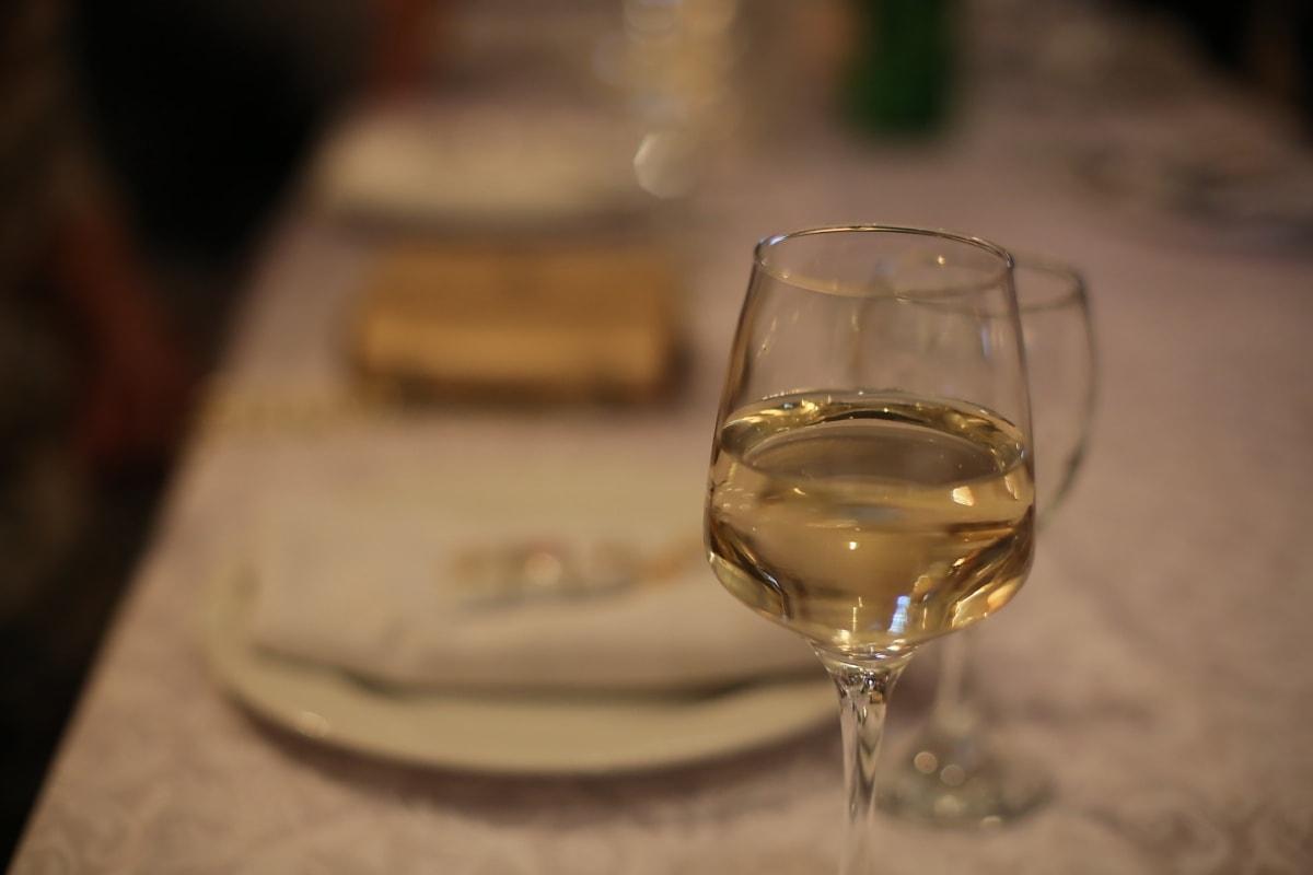 champagne, witte wijn, geelachtig, eettafel, kristal, glas, drank, wijn, drankje, alcohol