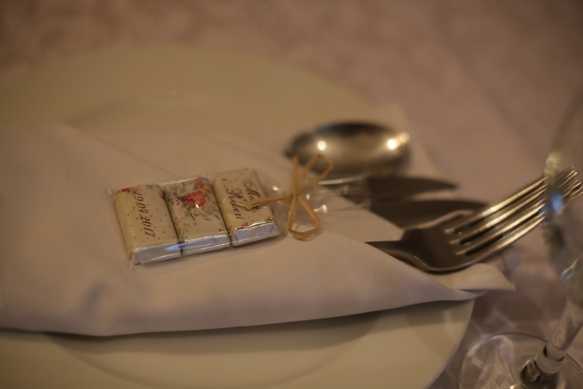 fork, cutlery, napkin, gifts, Valentine's day, romantic, dinner table, tableware, flatware, still life
