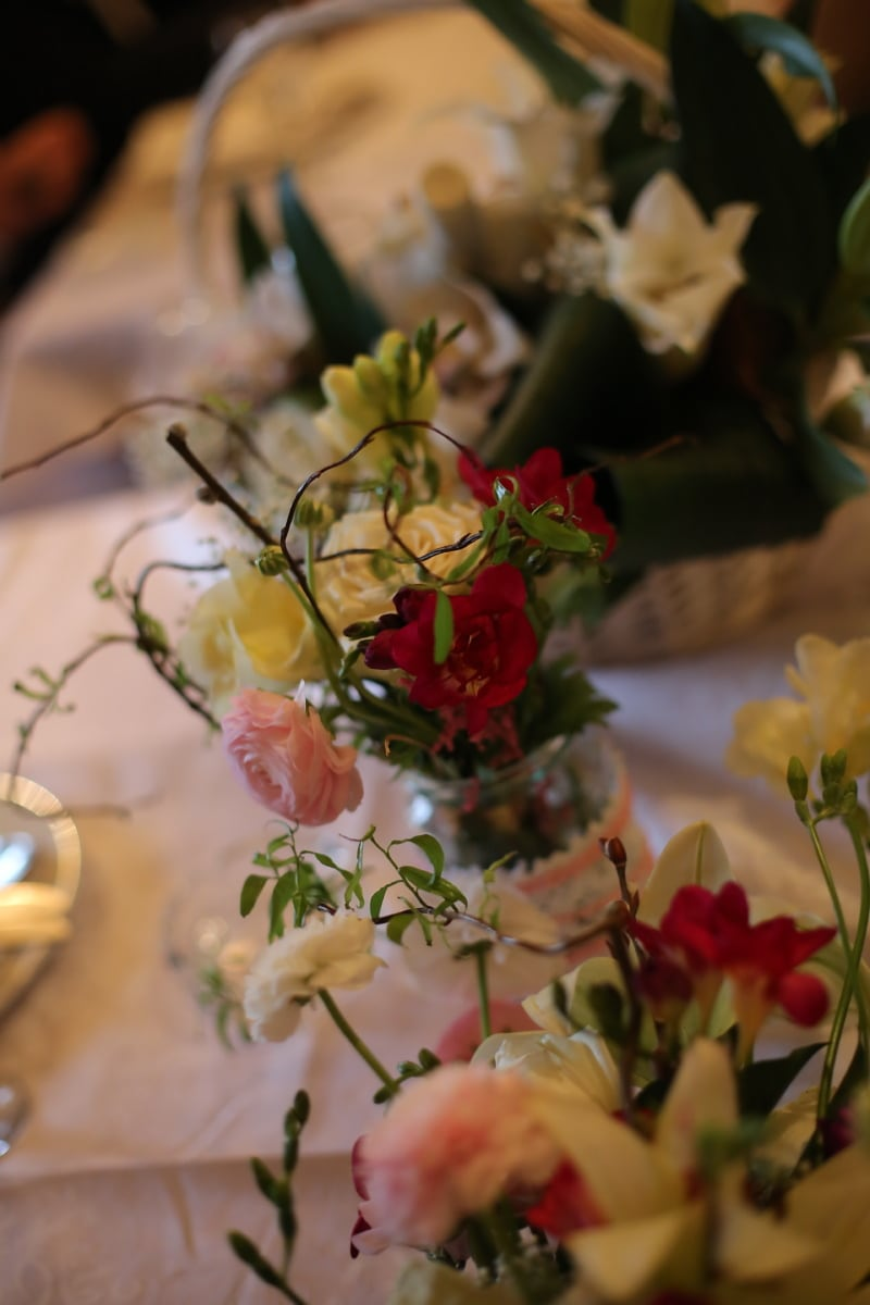 Vase, Blumen, Glas, Blumenstrauß, Dekoration, stieg, Blume, Anordnung, Still-Leben, elegant