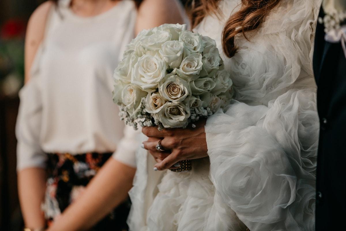 bruden, stående, bröllopsklänning, bröllop bukett, Kärlek, bröllop, bukett, klänning, brudgummen, äktenskap