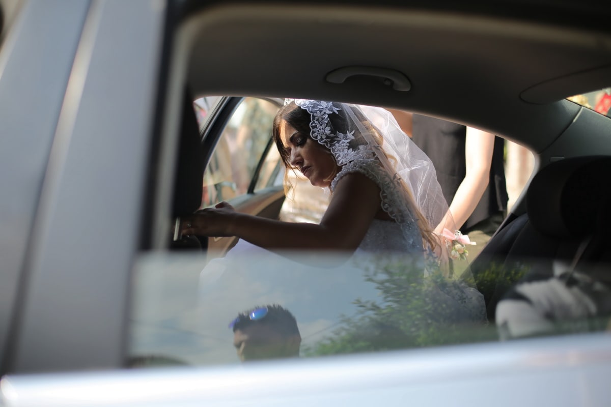 Braut, Auto, innen, Frau, Hochzeit, Fahrzeug, Automotive, Transport, Mädchen, Porträt
