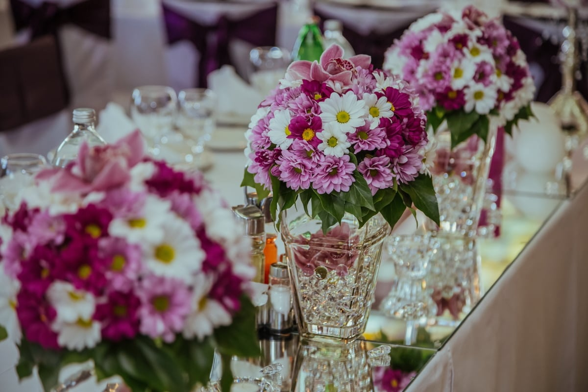 váza, uspořádání, květ, kytice, příroda, květiny, růžová, svatba, dekorace, romantika