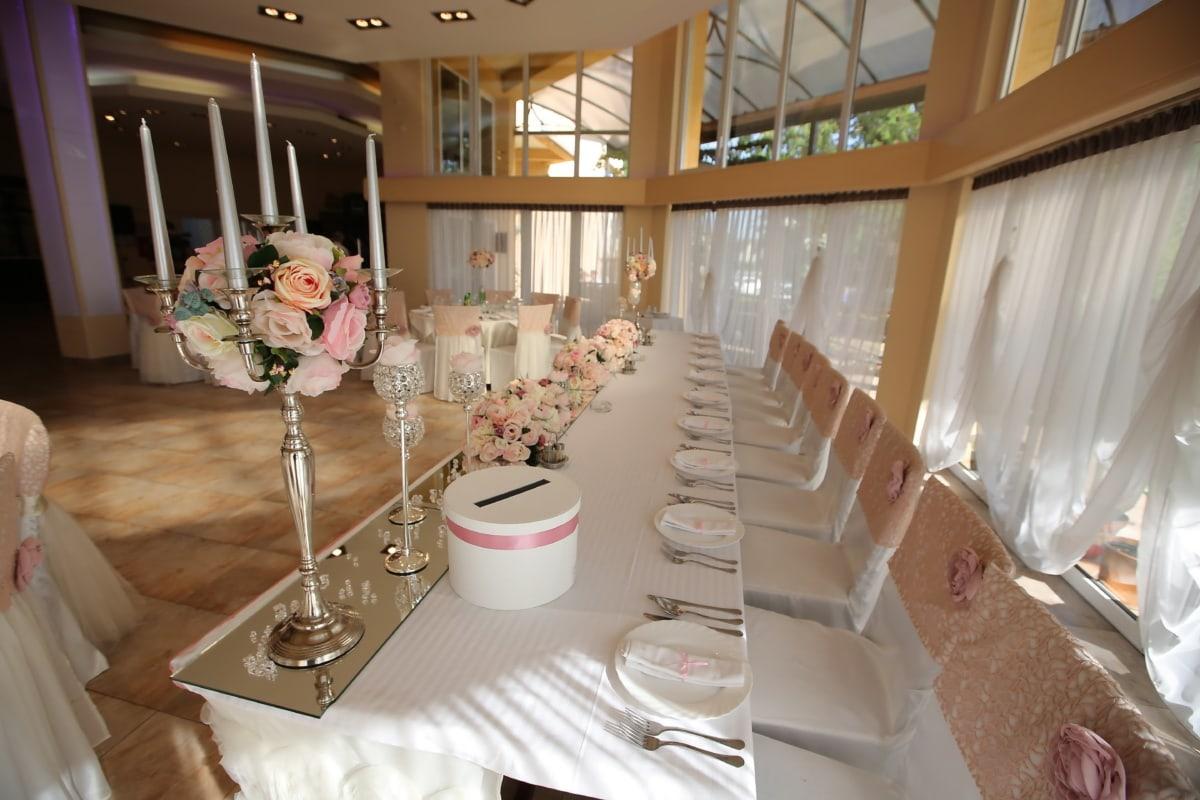 Hotel, Essbereich, Hochzeit, Hochzeitsort, Innenraum, Restaurant, Zimmer, Möbel, Tabelle, drinnen