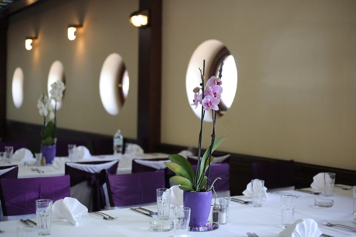 purple, orchid, purplish, flowerpot, elegant, dining area, lunchroom, restaurant, dining, table
