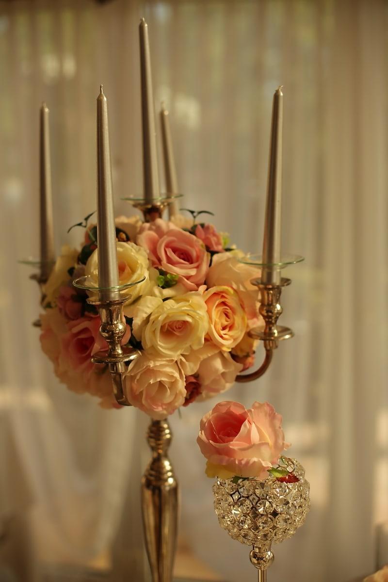 decoration, luxury, elegant, interior design, romance, candle, indoors, gold, traditional, rose