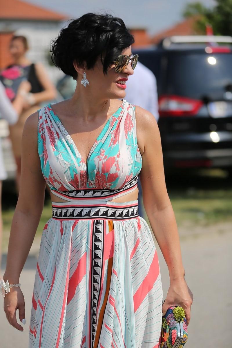 robe, coloré, mode, modèle, femme, jeune fille, rue, joli, Portrait, été