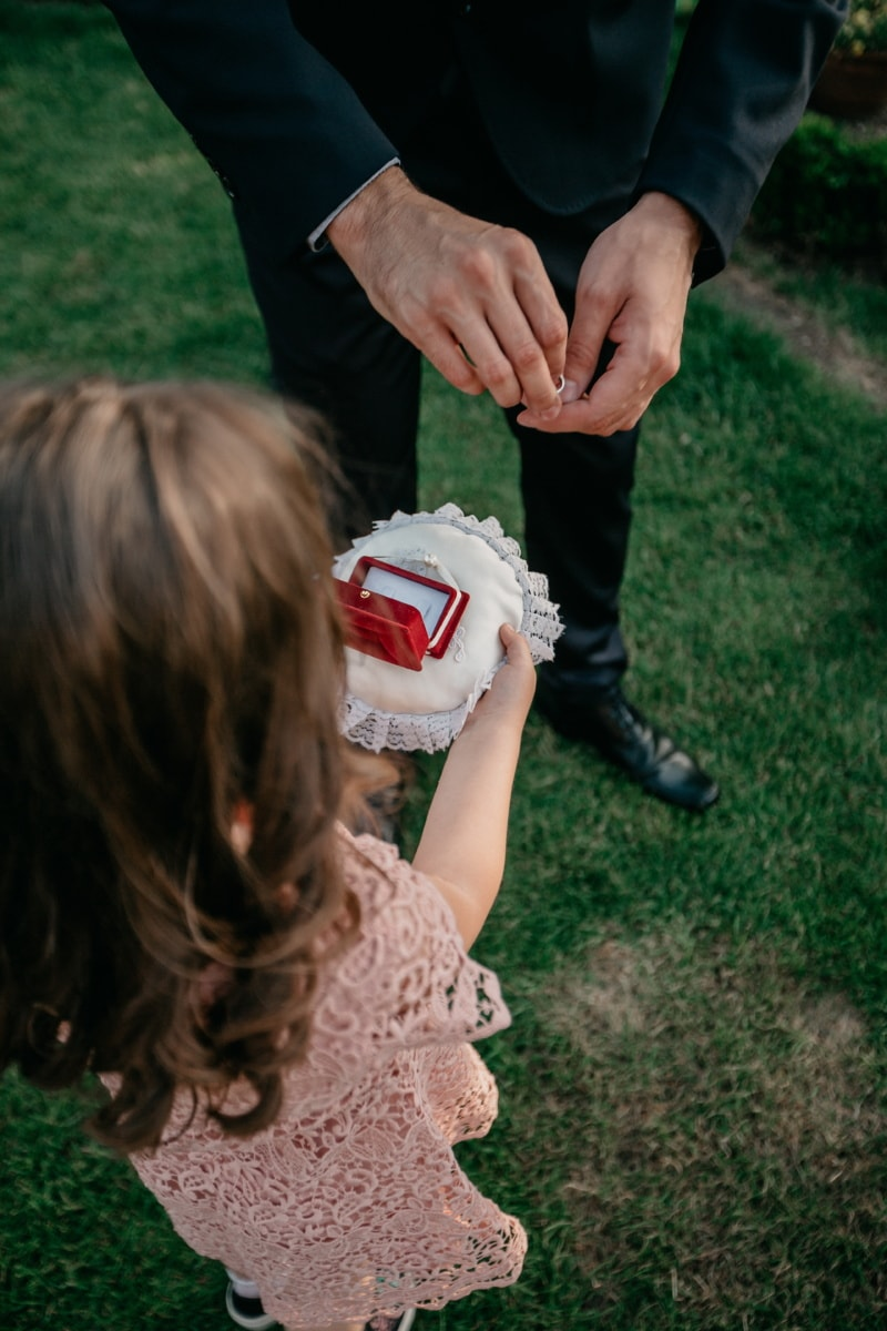 giving, child, groom, gift, rings, wedding ring, nature, grass, people, outdoors