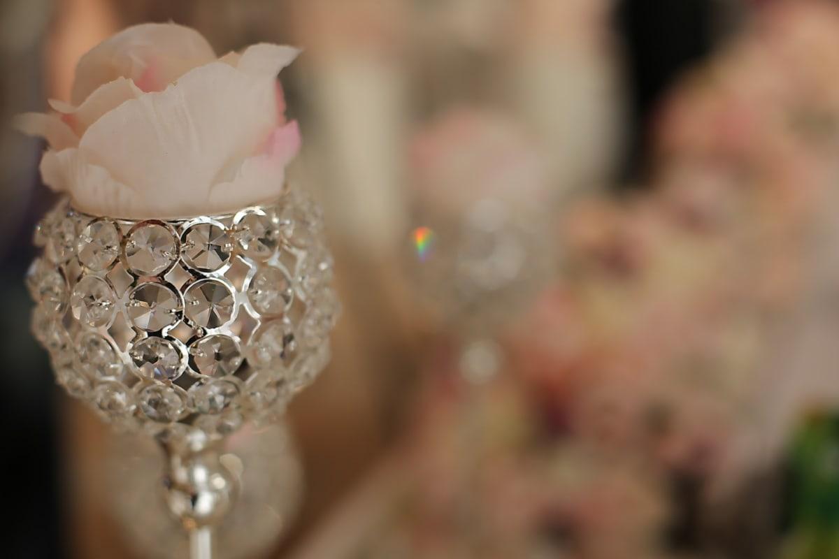 Vase, Kristall, Glas, Luxus, aus nächster Nähe, Reflexion, Blume, Romantik, verwischen, stieg