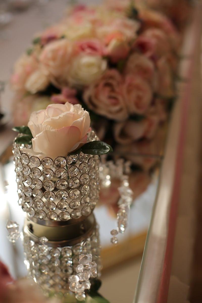Vase, Kristall, Dekoration, Blumenstrauß, Rosen, Blume, Luxus, Liebe, elegant, schöne