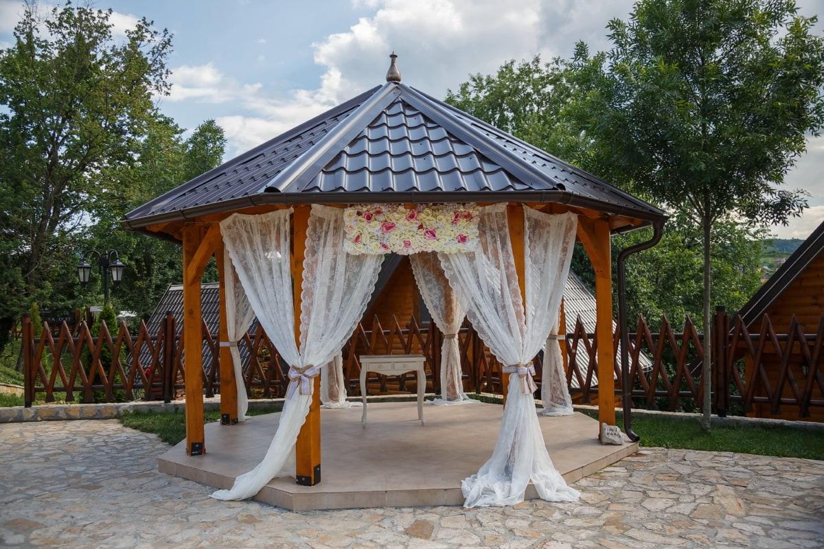 salle de mariage, arrière-cour, vintage, architecture, jardin, maison, bois, mariage, gens, toit
