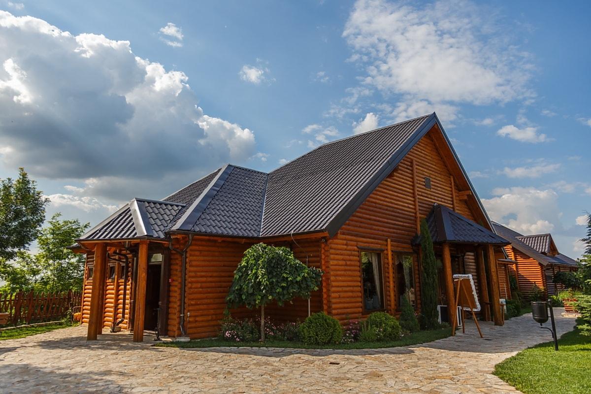 bungalow, hus, bolig, bakgården, forstad, huset, tre, hjem, arkitektur, taket