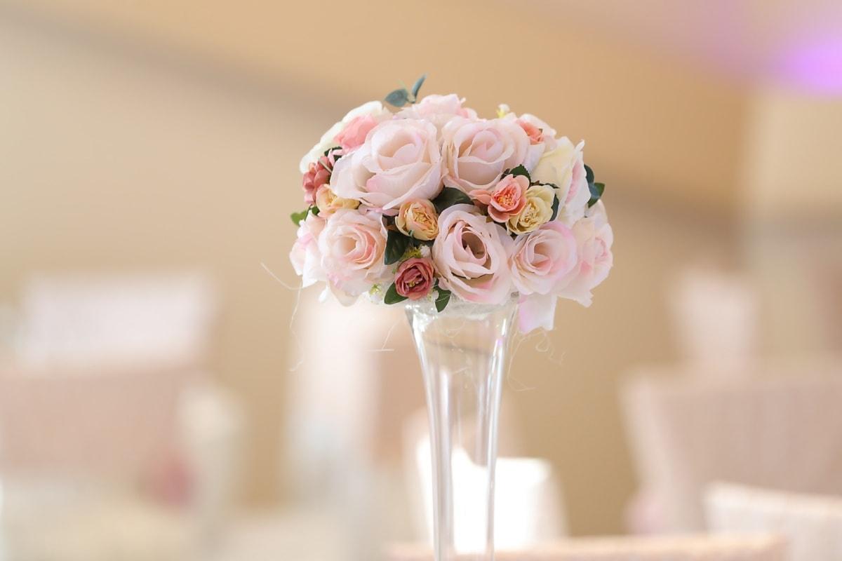 kryształ, Wazon, przezroczysty, szkło, kwiaty, bukiet, pastel, róże, różowy, romans