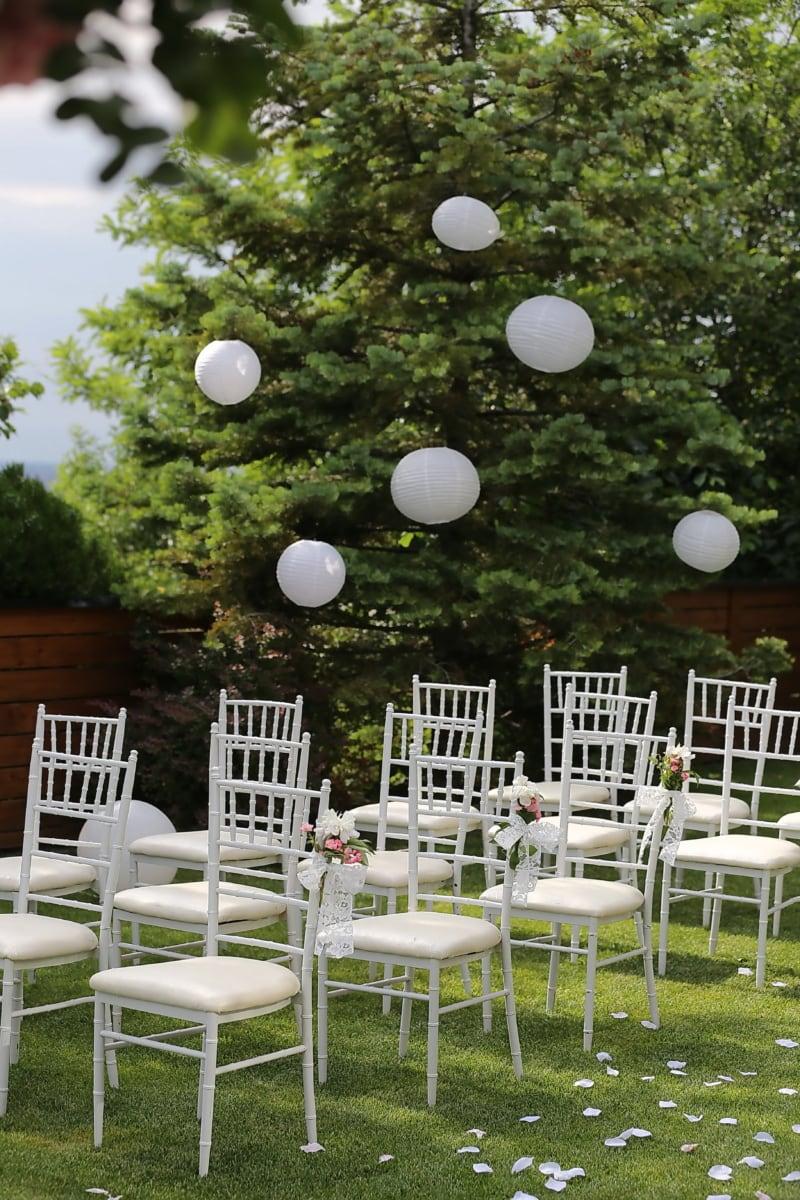 trouwlocatie, stoelen, elegante, wit, gras, tuin, stoel, boom, stoel, park