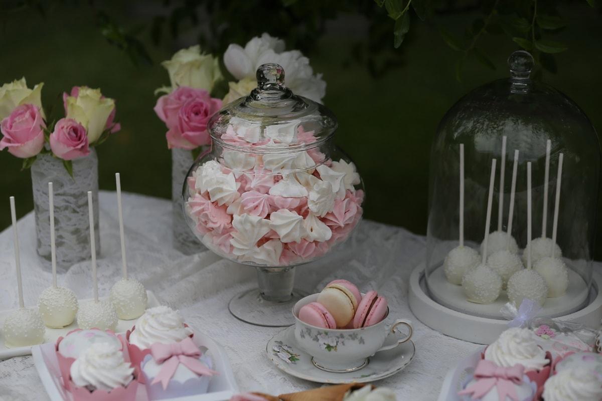 Baiser, Keks, Dessert, Lutscher, Porzellan, Kerze, Zucker, Blume, stieg, Dekoration