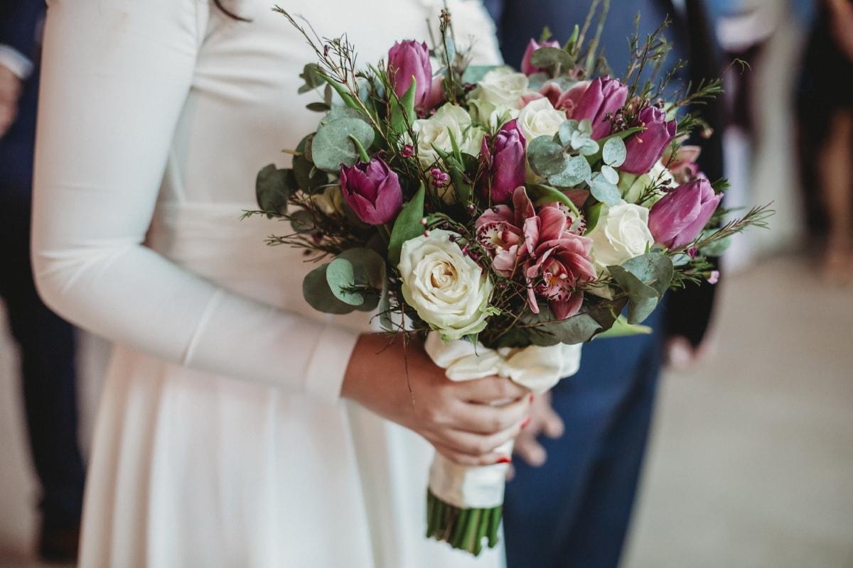 Braut, halten, Hochzeitsstrauß, Hochzeit, Romantik, Blumenstrauß, Blume, Liebe, Engagement, stieg