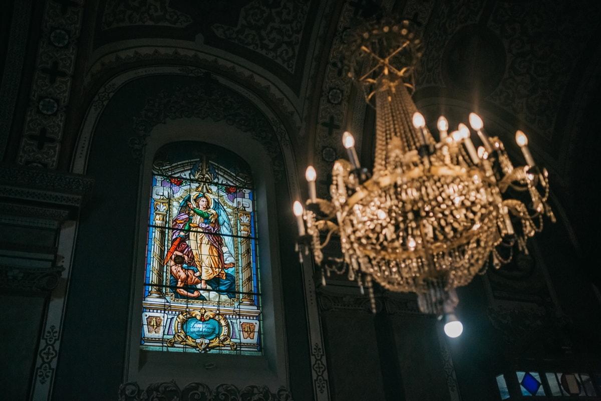 stained glass, window, saint, church, inside, crystal, chandelier, luxury, baroque, darkness