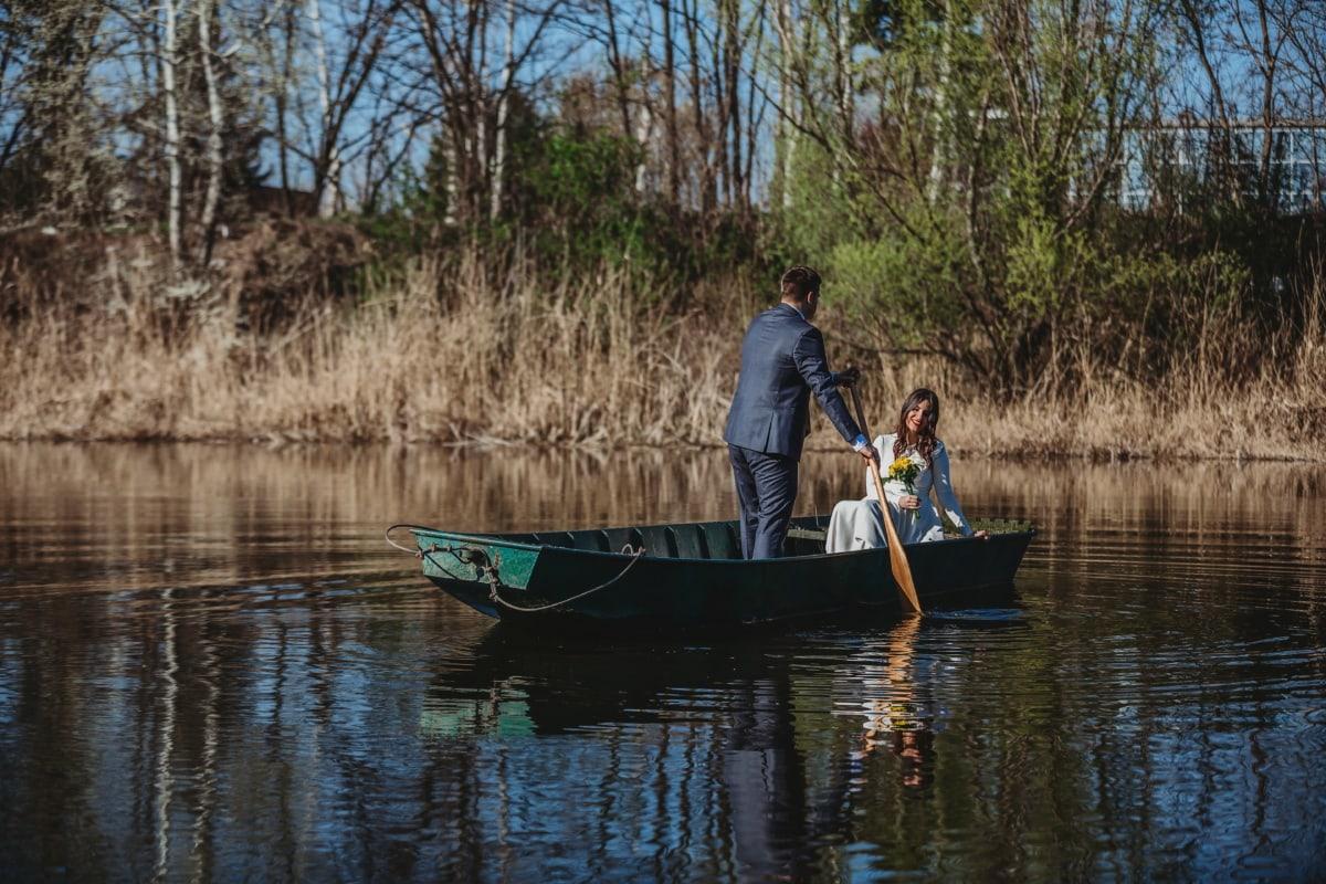 jeune marié, la mariée, gondole, bateau de rivière, bateau, eau, Lac, rame, canal, pagayer