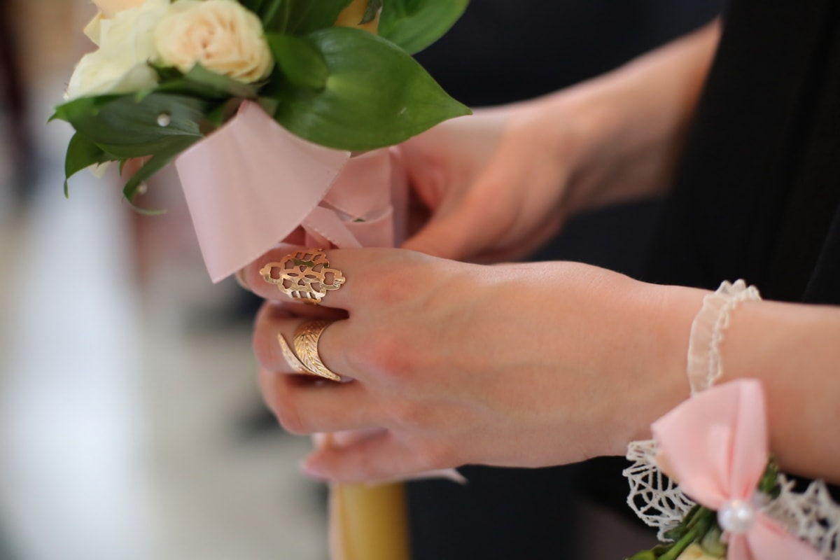 rings, golden shine, gold, candle, hands, wedding, woman, bride, groom, engagement