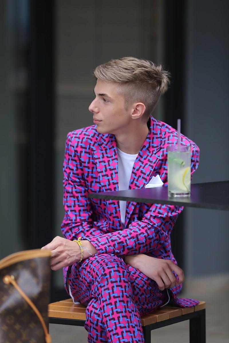 setelan tuxedo, mode, glamor, pakaian, warna-warni, tuan, Laki-laki, kontemporer, santai, mencari