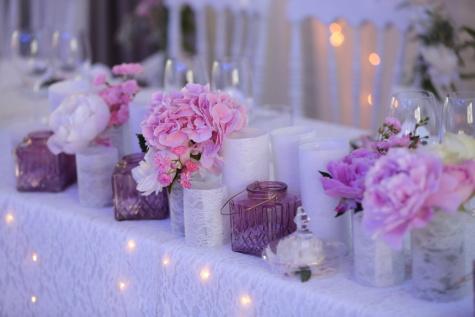 decorazione, romantica, candele, candela, matrimonio, bouquet, fiore, rosa, natura morta, vaso
