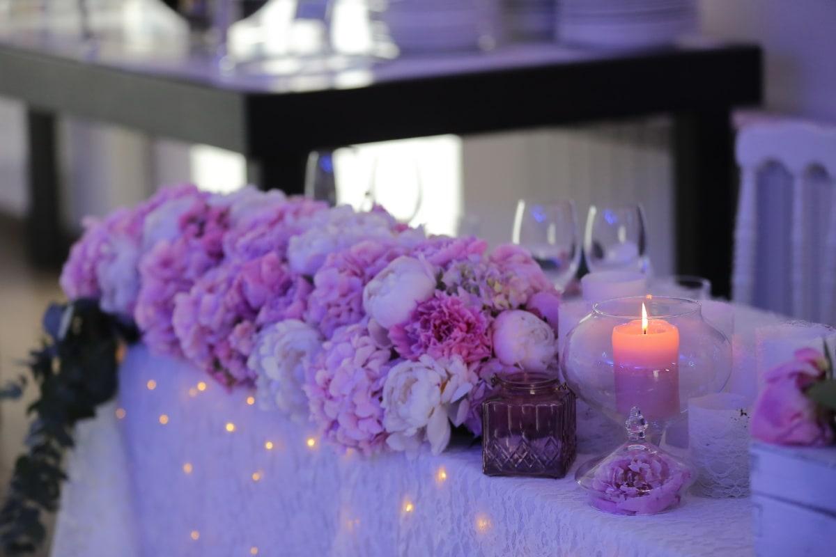 receptie, lumânare, lumanari, decor, la lumina lumânărilor, romantice, floare, Ceremonia, trandafir, buchet