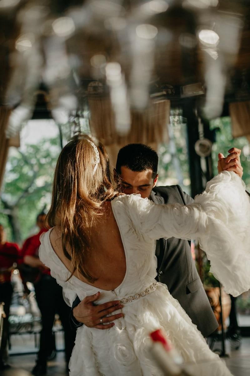Bräutigam, Braut, ersten, Tanz, Menschen, Hochzeit, Mann, Frau, Mädchen, Porträt