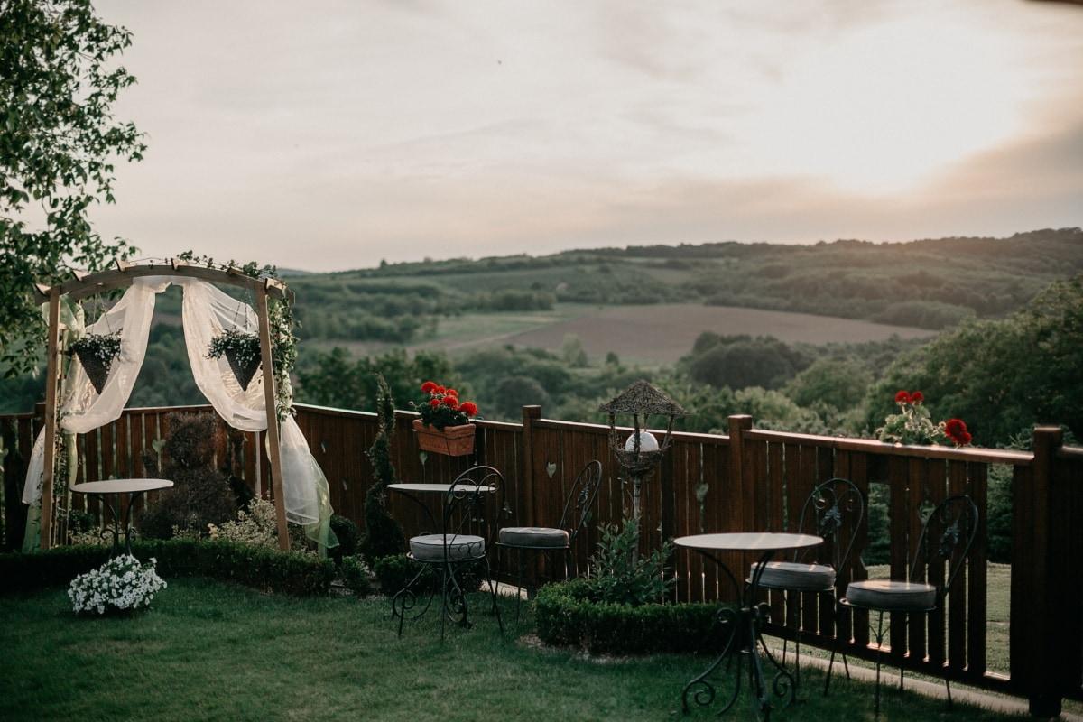 Hügel, Hügel, Dorf, Hochzeitsort, Garten, Stuhl, Landschaft, Holz, Terrasse, im freien