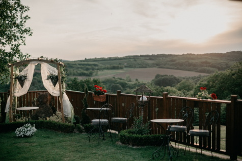 hilltop, hillside, village, wedding venue, garden, chair, landscape, wood, patio, outdoors