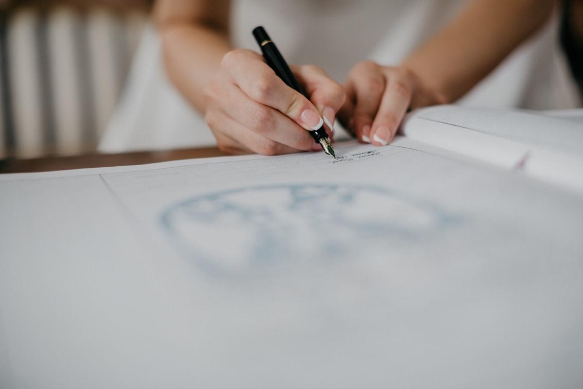 firma, lápiz, matrimonio, documento, trámites, mano, papel, de la escritura, mujer, Oficina