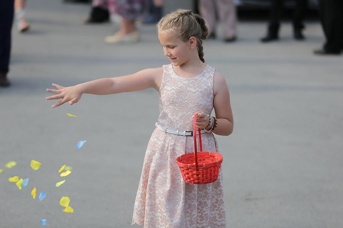 teenage, pretty girl, blonde hair, enjoyment, wicker basket, petals, child, street, fun, cute