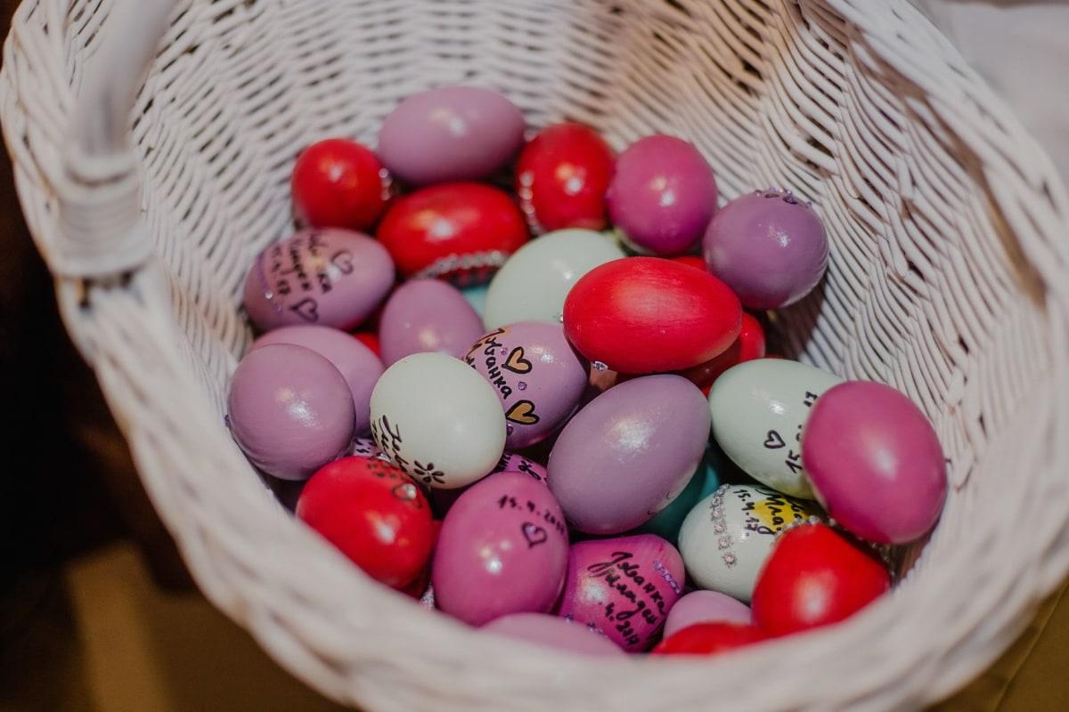 Ostern, Ei, Weidenkorb, Korb, traditionelle, Wicker, Holz, hell, Essen, viele
