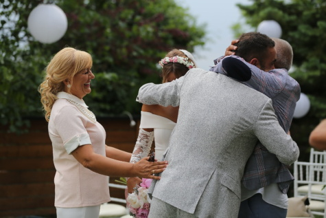 groom, mother, bride, father, hugging, smile, happiness, ceremony, woman, man