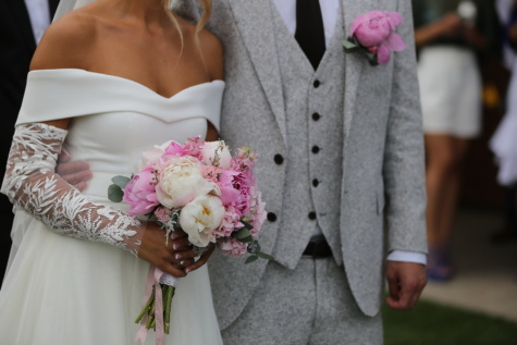 bride, wedding, bouquet, arrangement, love, groom, woman, fashion, ceremony, people