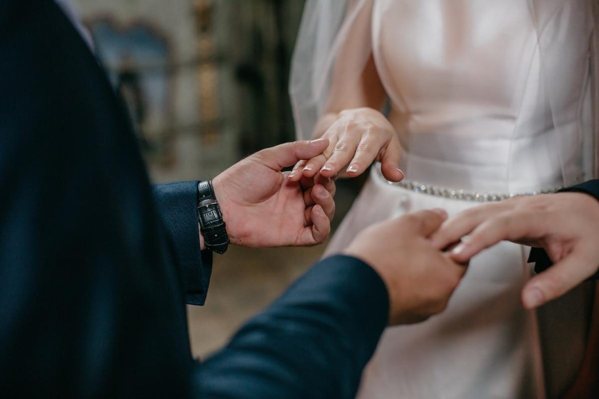 bride, groom, holding, hands, wedding, woman, engagement, love, man, people
