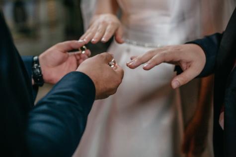 godfather, bride, groom, wedding ring, hands, wedding, woman, hand, man, people