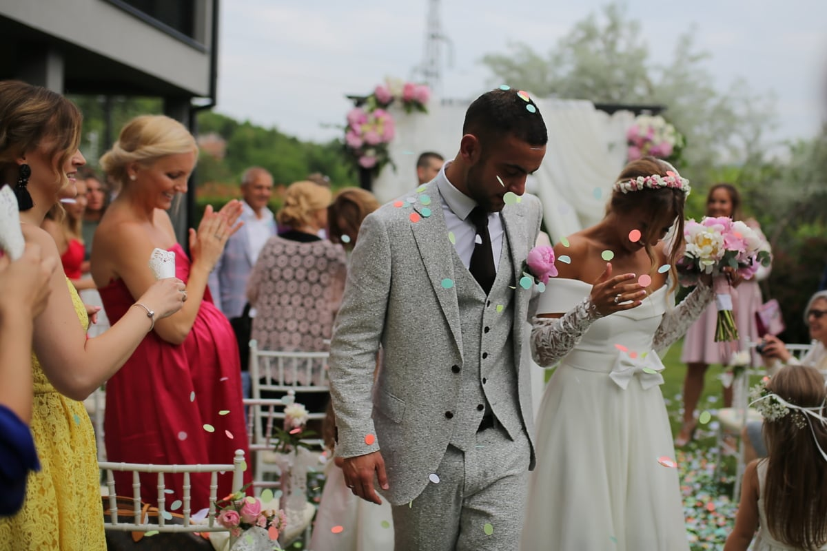 groom, just married, bride, confetti, parade, couple, wedding, people, ceremony, woman, celebration