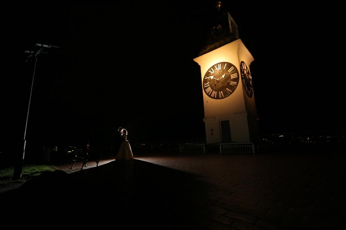 romantique, nuit, couple, rue, horloge, lumière, architecture, Ville, temps, sombre