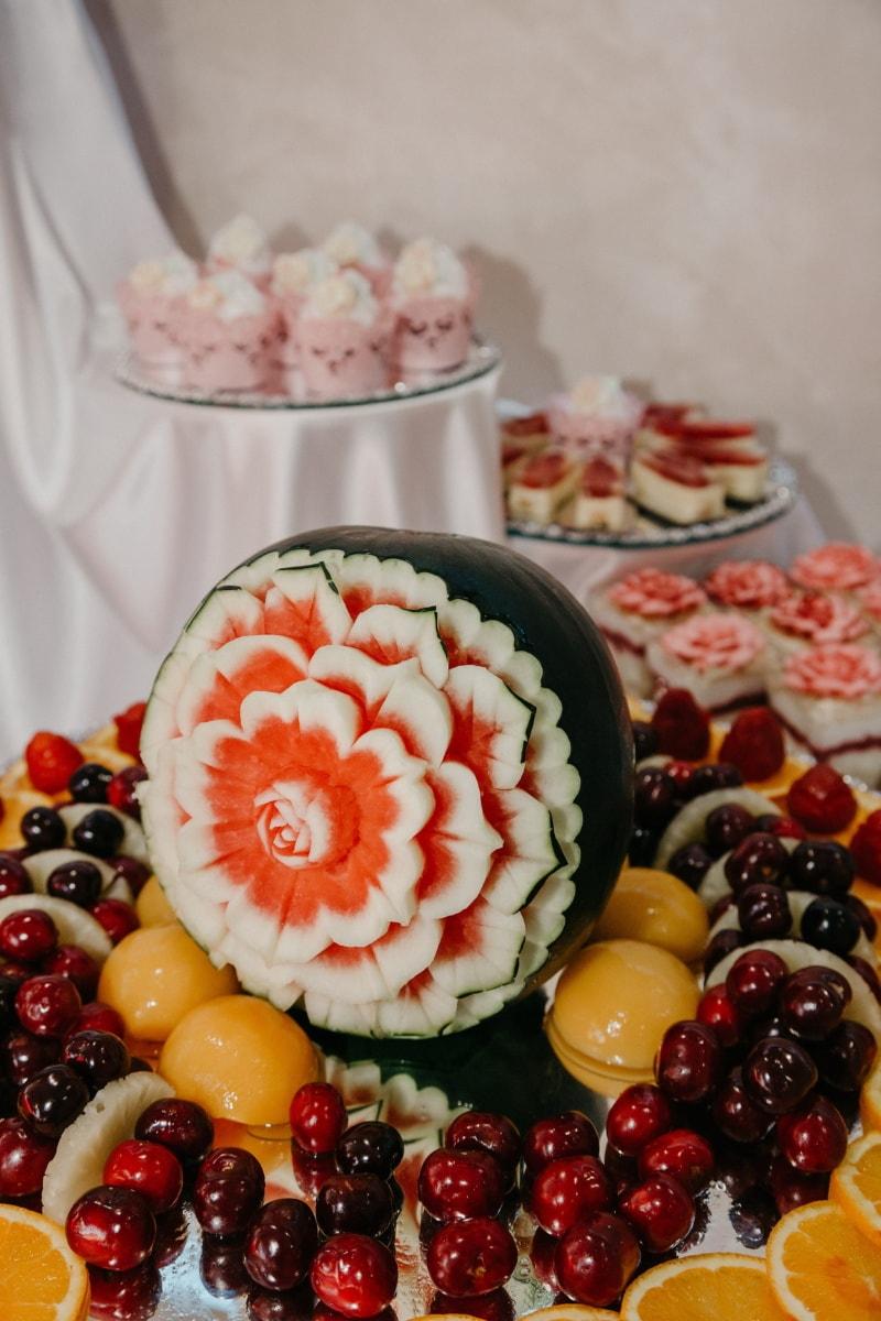 sculptures, melon d'eau, art, bar à salade, doux, cerises, fruits, dessert, alimentaire, confiserie