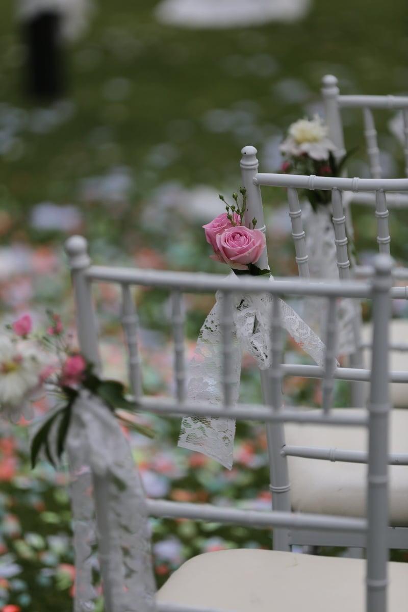 trouwlocatie, vrij, stoelen, decoratie, rozen, buitenshuis, natuur, bruiloft, bloem, tuin
