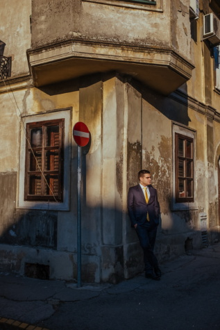 corner, businessman, standing, street, sunset, architecture, tuxedo suit, people, city, home