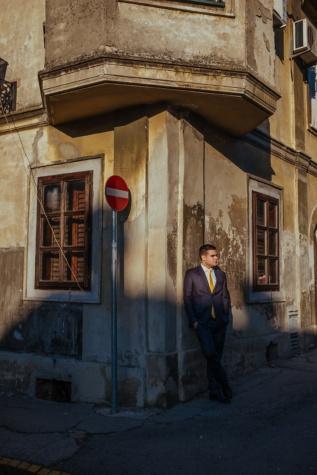 hoek, zakenman, staande, Straat, zonsondergang, het platform, smoking pak, mensen, stad, huis