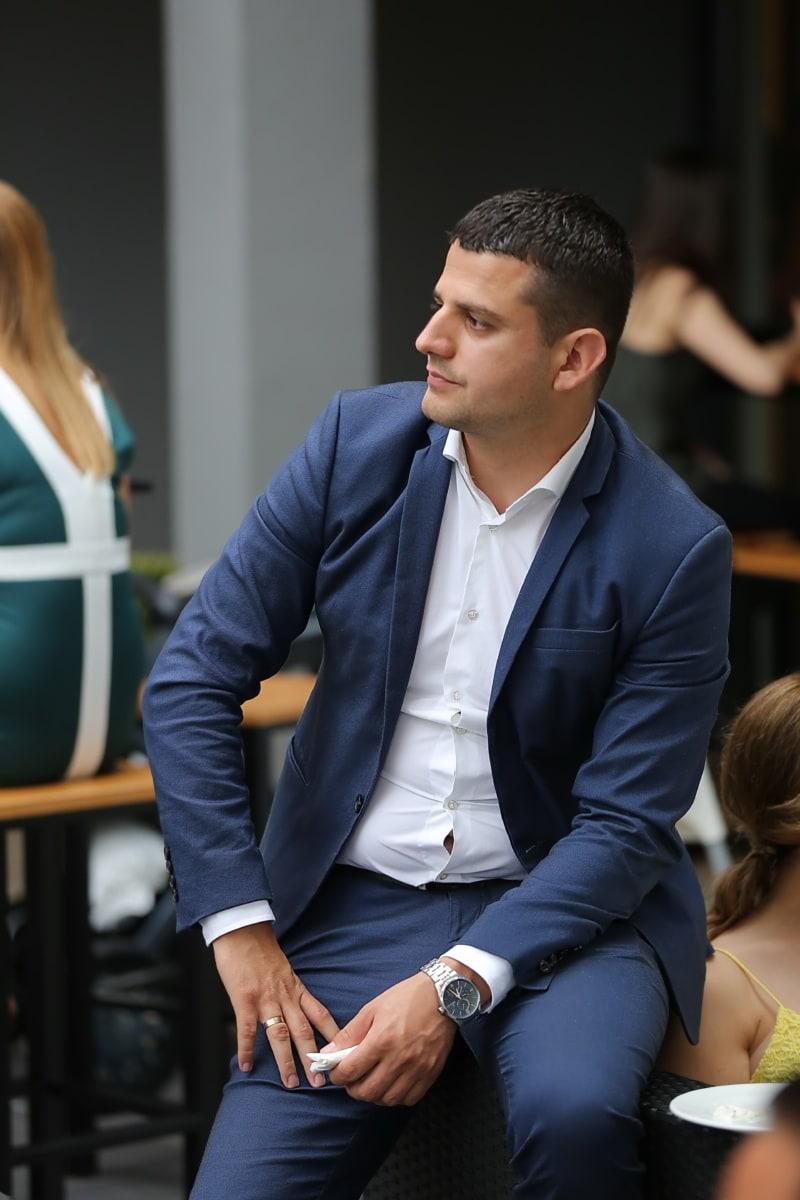 businessman, sitting, side view, portrait, tuxedo suit, confident, professional, man, intelligence, partnership