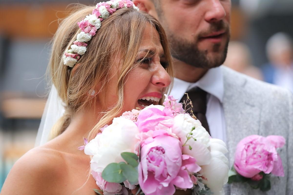 наречена, плакати, збудження, Кохання, радість, щастя, плаття, весілля, пара, букет