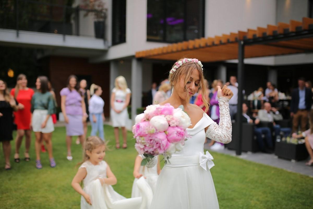 untergeordnete, Zeremonie, traditionelle, Freundin, Braut, Bräutigam, paar, Hochzeit, Kleid, Ehe