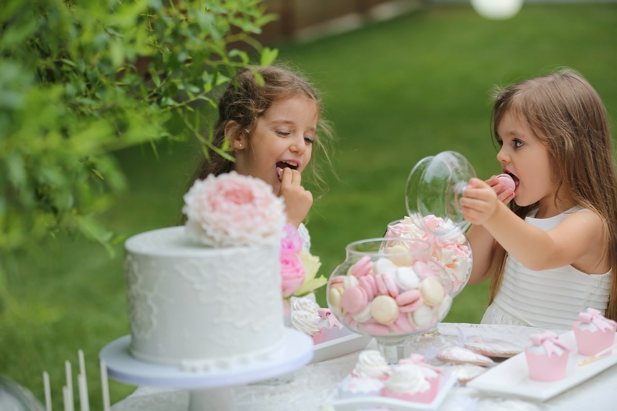 eating, girls, birthday cake, enjoying, delicious, dress, child, cute, fun, outdoors